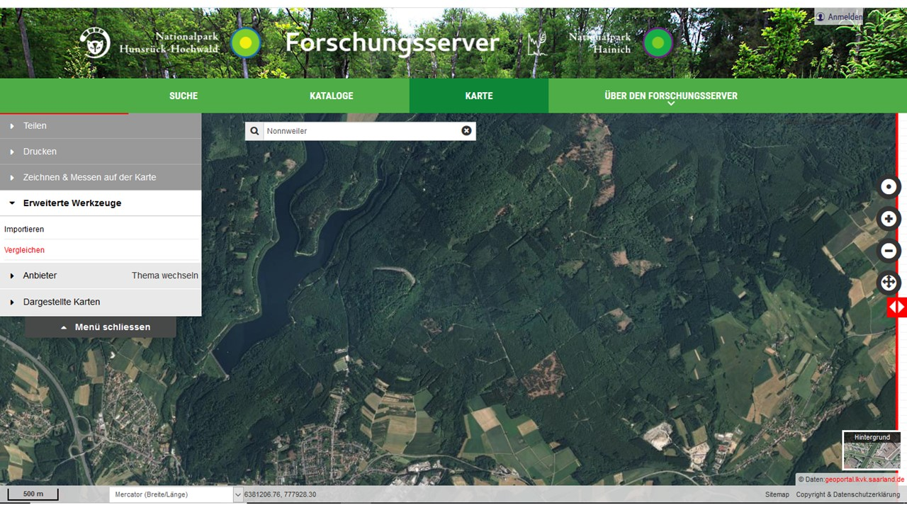 Hunsrück Hochwald Karte.Forschungsserver Nationalpark Hunsrück Hochwald