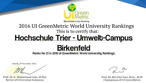 Urkunde GreenMetric Ranking 12/2016